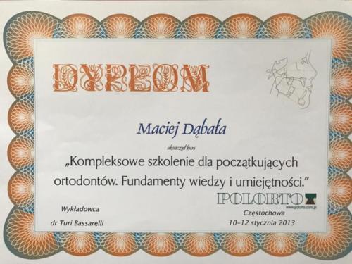 Ortodoncja dabala Katowice - niewidoczna ortodoncja - dyplom